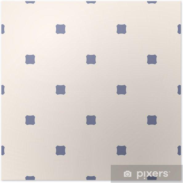 Poster Jahrgang nahtlose Muster mit achteckigen Formen, abgerundete Quadrate. blau und beige - Grafische Elemente