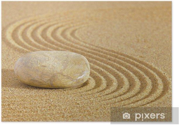 Poster Japanischen Zen-Garten mit Stein in Sand geharkt - Texturen