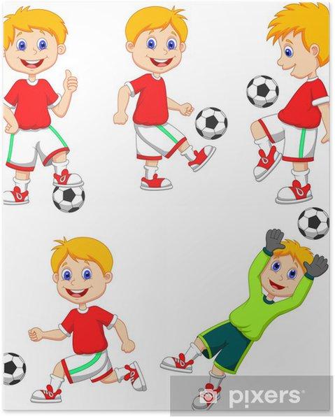Poster Junge Spielt Fussball