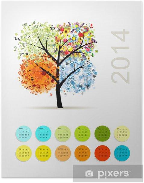 Poster Kalender 2014 mit vier Saison Baum für Ihr Design - Jahreszeiten