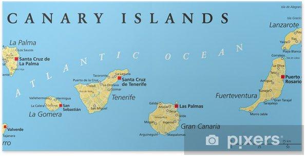 Kanaren Inseln Karte.Poster Kanarische Inseln Politische Karte
