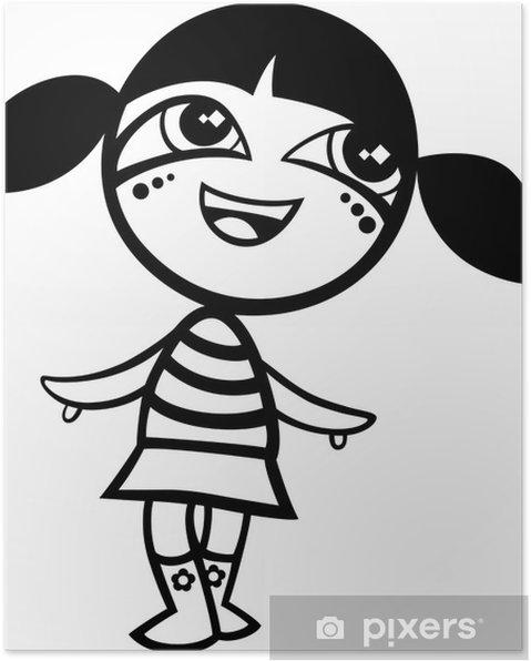 poster karikatur kawaii mädchen malvorlagen • pixers