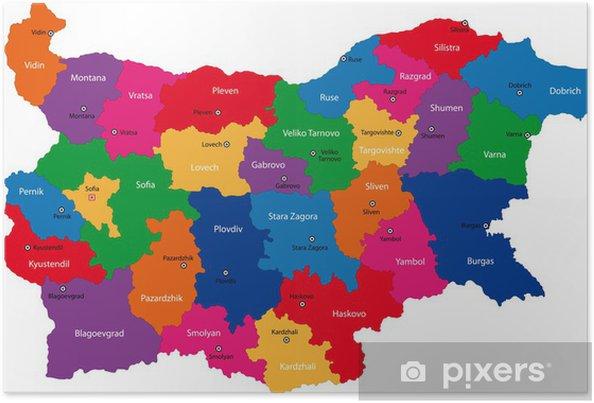 Karte Bulgarien.Poster Karte Der Stadtbezirke Von Bulgarien