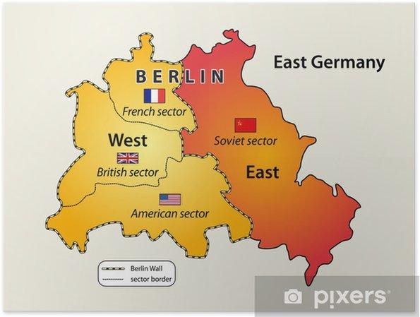 Kalter Krieg Karte.Poster Karte Von Berliner Mauer 1961 1989 Im Kalten Krieg