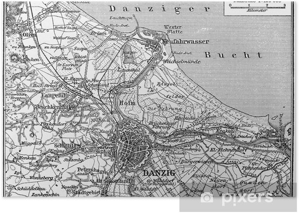 Poster Karte von Danzig Stadt und Umgebung im frühen 20. Jahrhundert - Reisezubehör