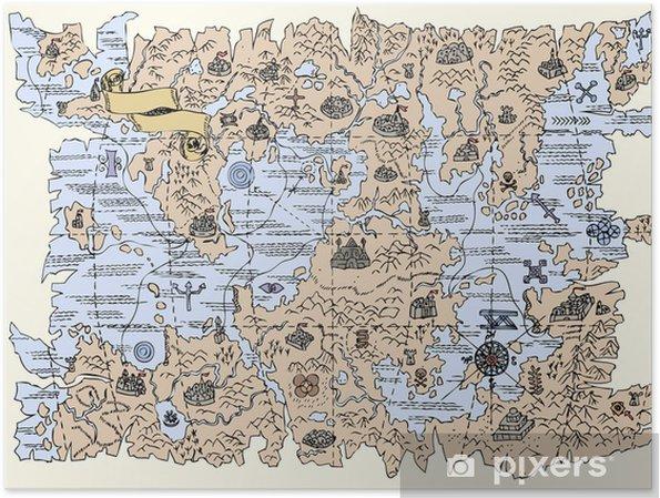 Fantasy Karte.Poster Karte Von Der Fantasy Welt