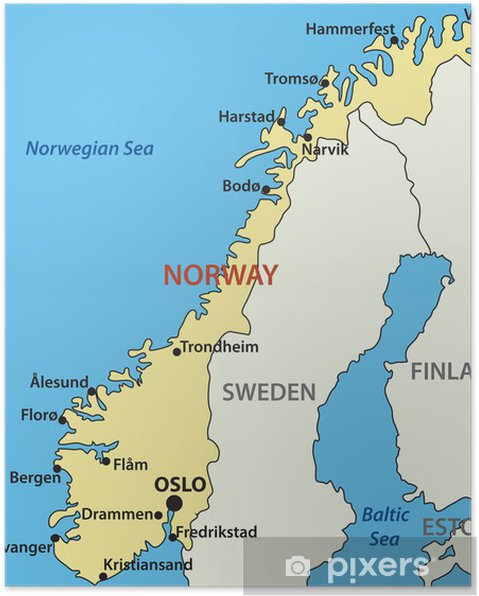 Karte Norwegen.Poster Karte Von Norwegen Vektor