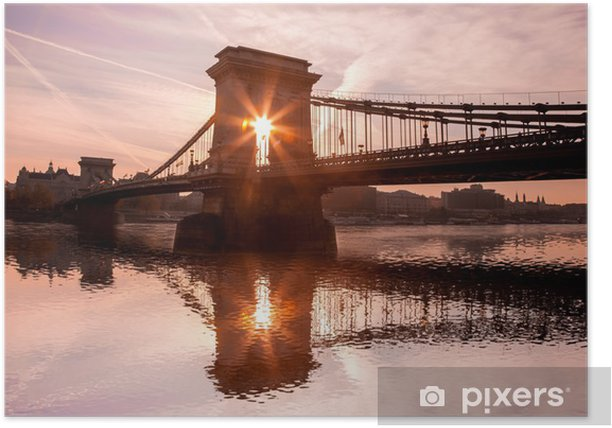 Poster Kettenbrücke gegen Sonnenaufgang in Budapest, Ungarn - Europa