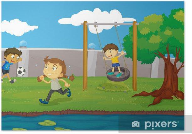 Poster Kinder im Park -