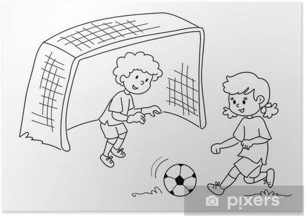Poster Kinder Spielen Fussball Schwarz Und Weiss