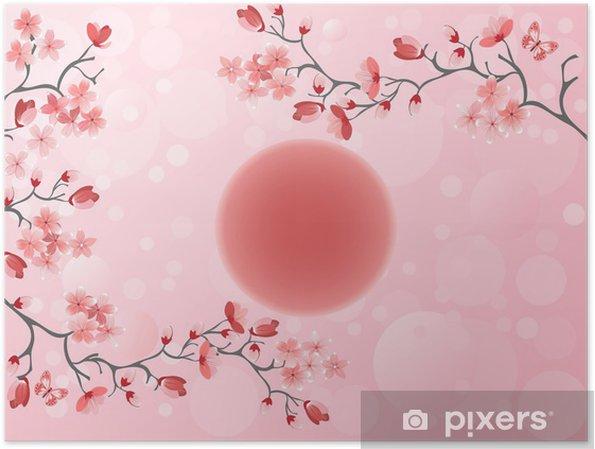Poster Kirschblüte - japanischer Feder - Stile