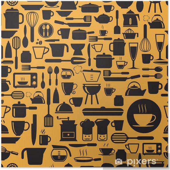 Poster Kitchen Tools Nahtlose Muster Mit Retro Farben Vektor Format