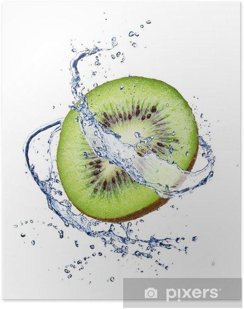 Poster Kiwi in Wasser spritzen, isoliert auf weißem Hintergrund - Früchte