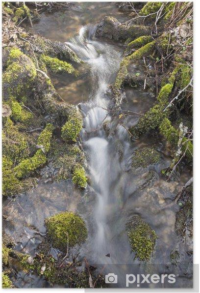 Poster Kleiner Wasserfall in der unberührten Natur - Wasser