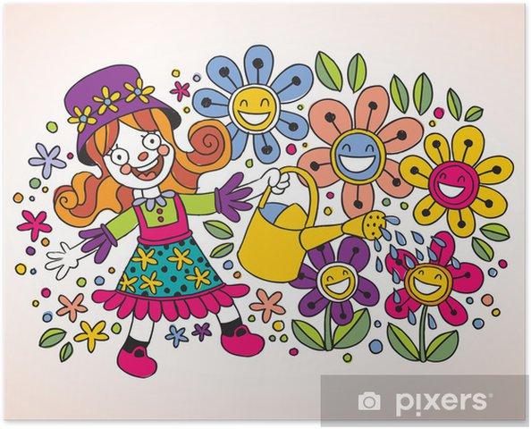 Poster Kleines Madchen Blumen Giessen Pixers Wir Leben Um Zu