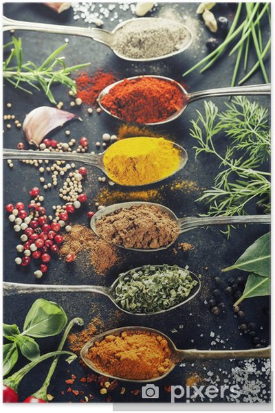 Poster Kräuter und Gewürze Auswahl - Kräuter