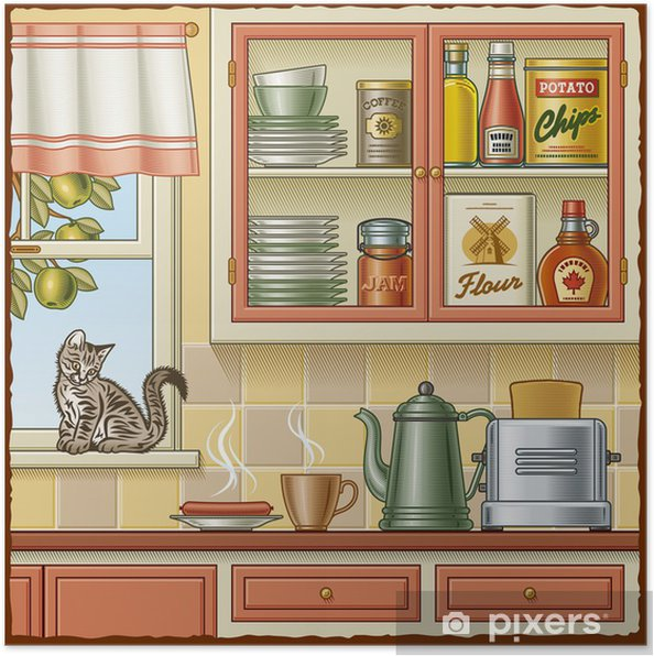 Poster Küche retro