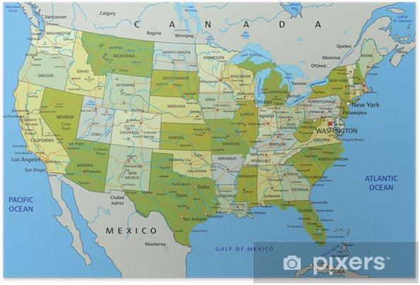 Stati Uniti Cartina Fisico Politica.Poster La Mappa Politica Modificabile Altamente Dettagliata Con