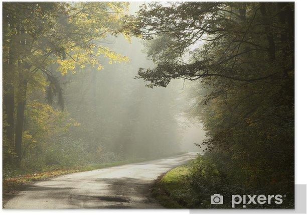 Poster Landstraße durch den nebligen Herbstwald bei Sonnenaufgang - Wälder