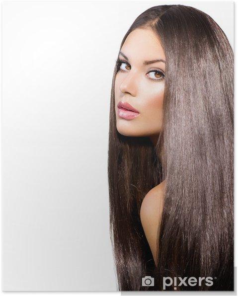 Poster Lange Gesunde Glattes Haar Modell Brunette Girl Portrait