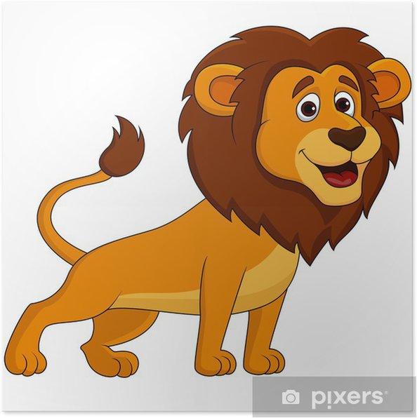 Poster leone carino cartone animato pixers viviamo
