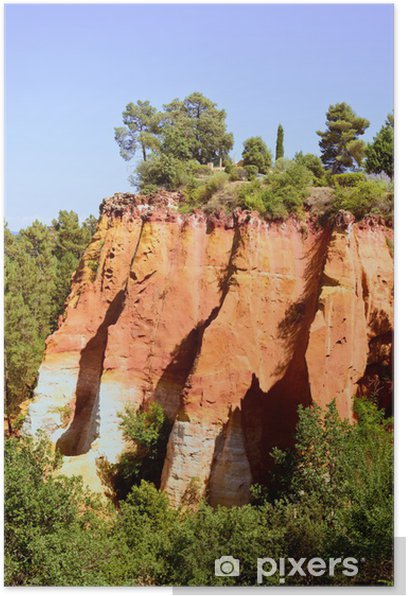 Poster Les Ocres du Roussillon, rote Felsformation. Luberon, Provence, - Europa