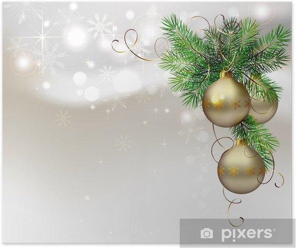 Weihnachten Hintergrund.Poster Licht Weihnachten Hintergrund Mit Abendkugeln Und Tanne