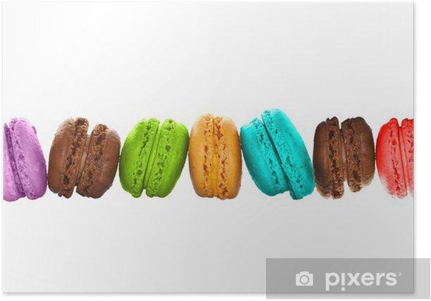 Poster Ligne de macarons multicolores fond blanc - Pasti