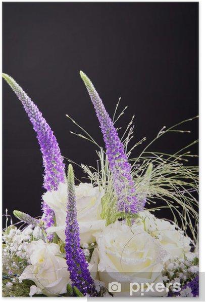 Poster Lila Blumenstrauß, Tisch Gesteck, hoch hautnah - Blumen