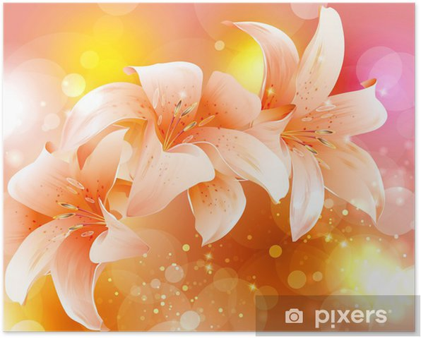 Poster Lilien Blume Vektor - Hintergründe