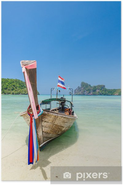 Poster Longtail-Boot auf Phi Phi Insel, Thailand - Asien