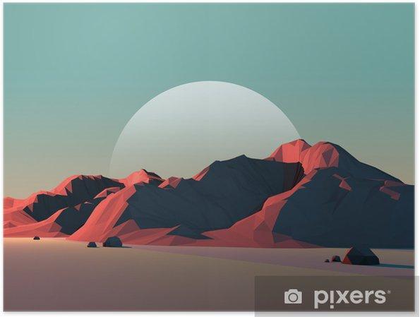Poster Low-Poly Berglandschaft in der Dämmerung mit Mond - Naturwunder