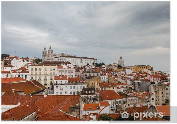 Poster Luftaufnahme über Alfama Viertel von Lissabon, Portugal - Urlaub