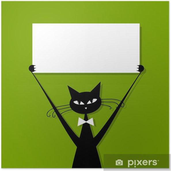 Poster Lustige Katze Mit Visitenkarte Platz Für Ihren Text