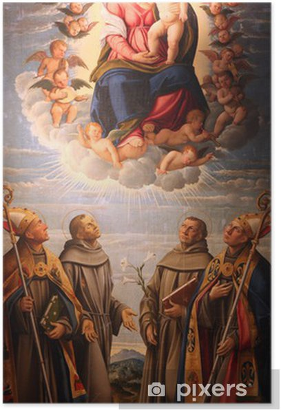 Poster Madonna und Kind in der Herrlichkeit des Himmels mit Heiligen - Themen