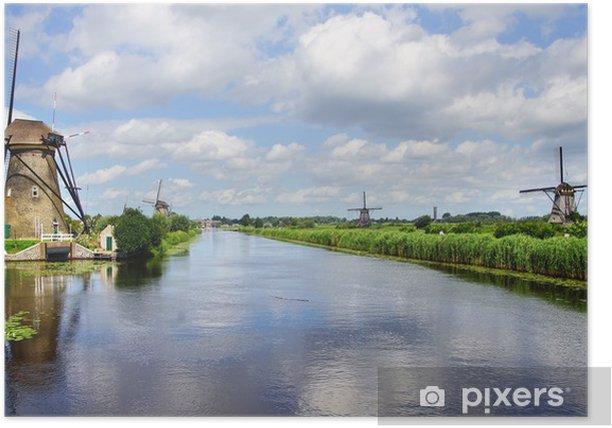 Poster Malerische Landschaft mit Windmühlen. Kinderdijk - Denkmäler