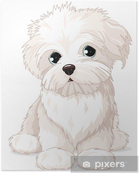 Poster Maltese Puppy Dog - Adesivo da parete
