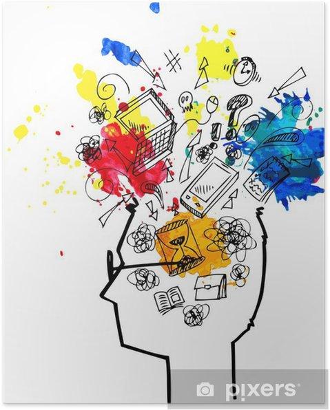 Poster Man testa piena di pensieri confusi - Uomini