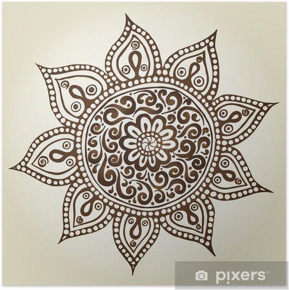 Poster Mandala. Turno di ornamento. Fiori ornamentali. - Astrazione