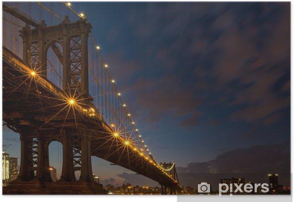 Poster Manhattan Bridge an der blauen Stunde - Brooklyn Bridge