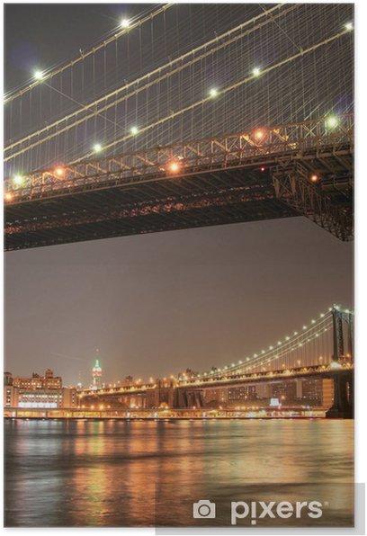 Poster Manhattan Skyline bei Nacht - Amerikanische Städte