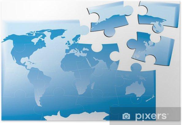 Poster Mappa del mondo come di puzzle uniti - Accessori ed Oggetti
