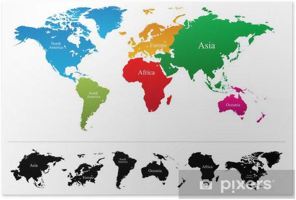 Cartina Del Mondo Con Continenti.Poster Mappa Del Mondo Con Continenti Colorati Atlas Vector