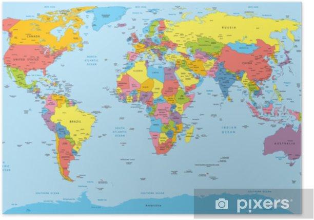 Cartina Mondo Paesi.Poster Mappa Del Mondo Con Nomi Di Paesi Paesi E Citta Pixers Viviamo Per Il Cambiamento
