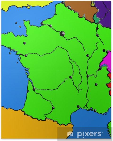 Poster Mappa Della Francia Mari Le Citta I Fiumi Il Colore Del Bordo