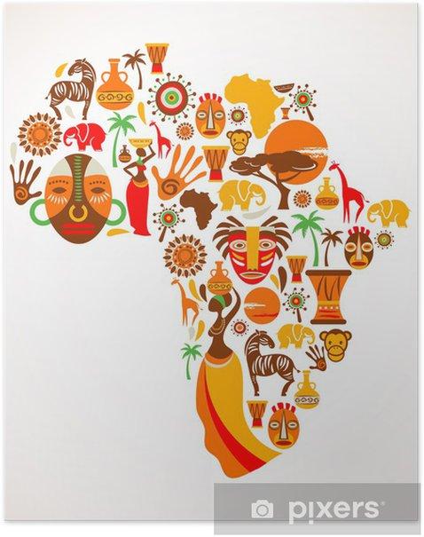 Poster Mappa di Africa con icone vettoriali - Natura