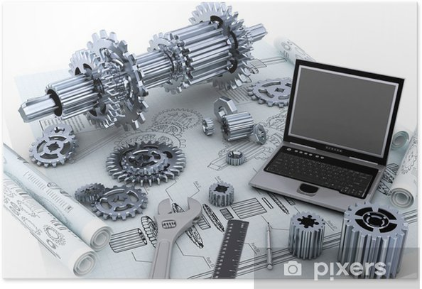 Poster Maschinenbau-Technologie-Konzept - Maschinen