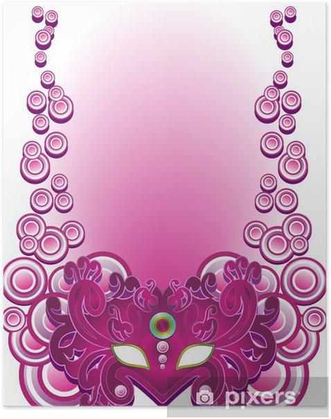 Poster Mask-Purple-Purple Carnival Mask Vector - Entertainment