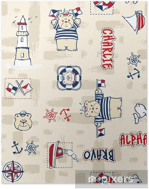 Poster Matrose trägt nahtlose Vektor-Muster - Hintergründe