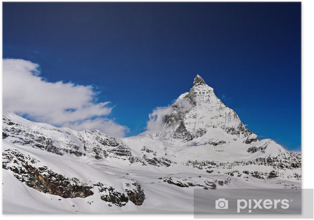 Poster Matterhorn mit blauem Himmel, Zermatt, Schweiz - Europa